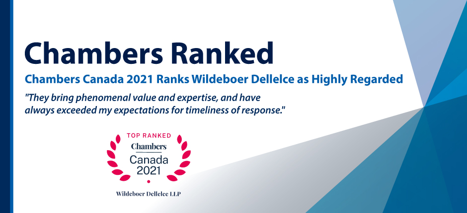 Chambers Canada 2020 Ranks Wildeboer Dellelce